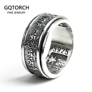Real 925 Sterling Silver Vintage Rings For Men Rotatable Tibetan Six Words Mantra Rings Om Mani Padme Hum Buddhist Jewelry(China)