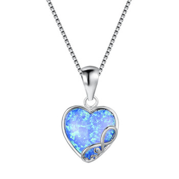Cellacity Heart shaped Gemstones Silver 925 Jewelry Opal Pendant Necklace for Women Rose Gold Color Female Neck ornament Party 2