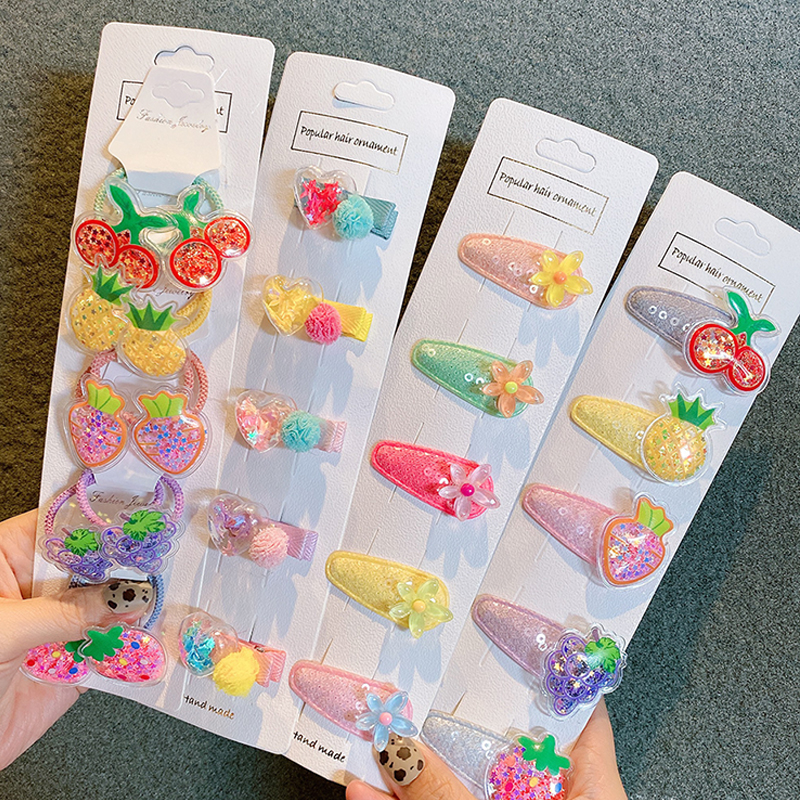 5/10Pcs/Set Baby Girls Fruit Sequin Princess Shiny Colorful Hair Clips Sweet Headwear Hair Accessories Hairpins Barretts