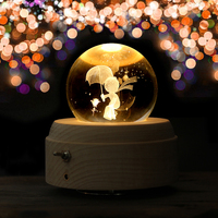 3D Little Prince Wooden Luminous Rotary Music Box Valentine's Day Gift Innovative Hand Crank Music Box Decoration Crystal Ball