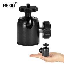 Câmera mini ballhead 360 cabeça giratória tripé bola cabeça do telefone suporte smaling monopé montagem adaptador para dslr câmera flash tripé