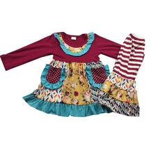 New arrival ruffle pant fall kids clothing Toddler baby girl outfit childrens boutique clothing 88