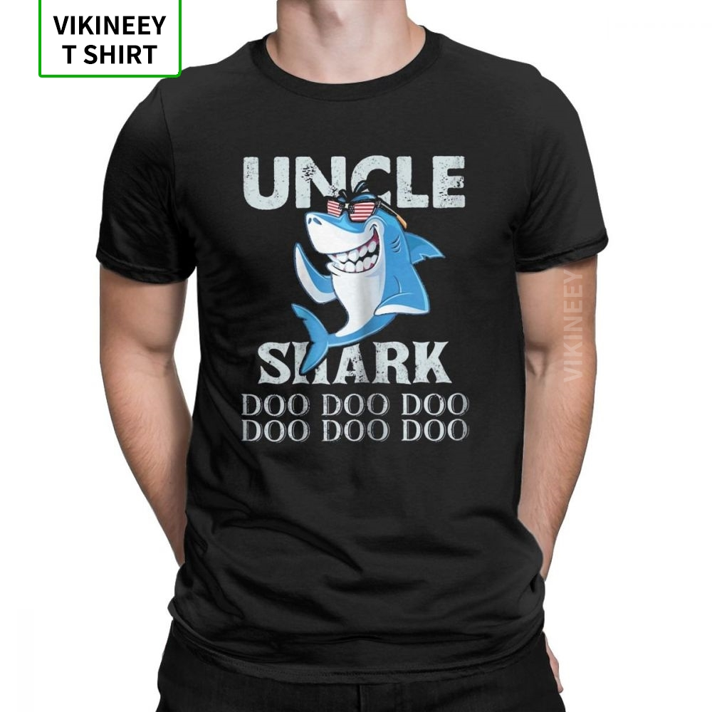 Uncle Shark Doo Doo T-Shirt For Men Uncle Shark Daddy Shark Gifts Tees Crew Neck Cotton Fabric Clothes Plus Size T Shirt