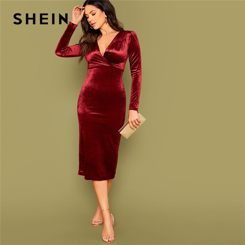 SHEIN Burgundy Surplice Neck Velvet Bodycon Dress Women Spring Long Sleeve High Waist Ladies Elegant Glamorous Long Dresses 1