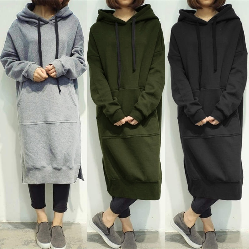 Women's Casual Loose Long Hoodies Autumn Solid Color Sweatshirt Hooded Sweatshirt Dress
