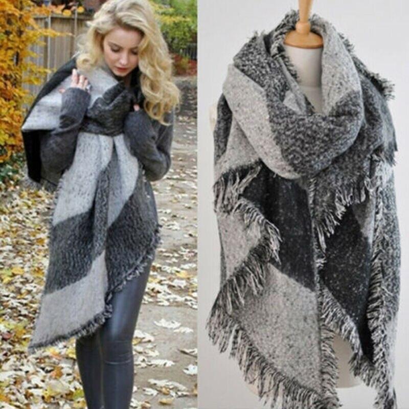 Winter Warm Fashion Large   Scarves   Women's Thick Long Cashmere Winter Wool Blend Soft Plaid   Scarf   Shawl   Wrap   Plaid   Scarf
