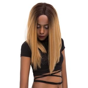 Image 4 - Yaki pelucas de cabello sintético con malla frontal para mujer Peluca de pelo rubio degradado, Color negro y rojo, longitud recta del hombro, con parte de encaje Roma
