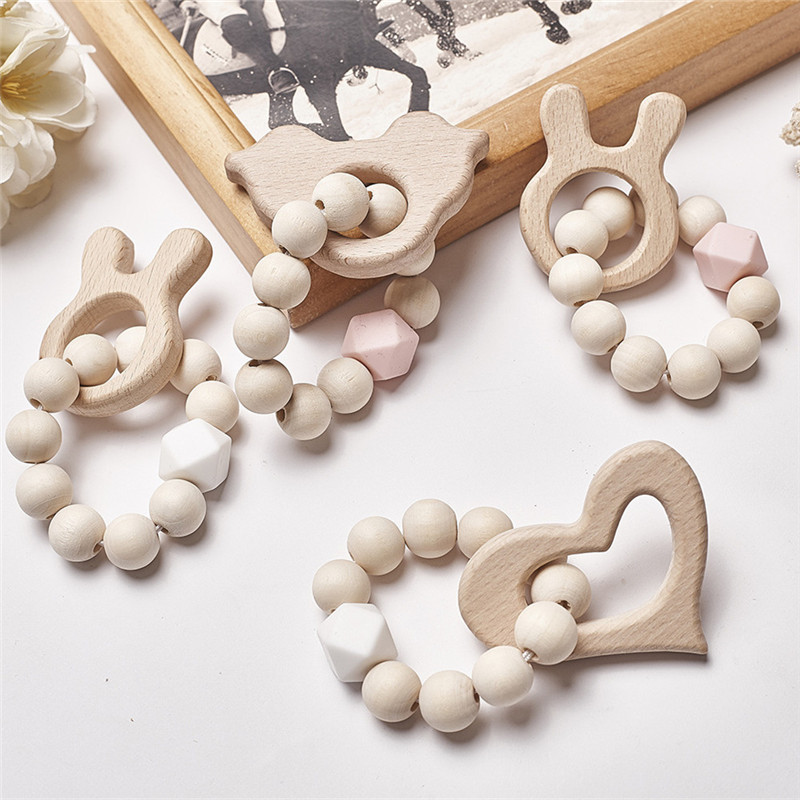 Baby Silicone Nursing Bracelets Wood Teether Silicone Beads Teething Wood Rattles Toys Baby Teether Bracelets Nursing Toys Gift(China)