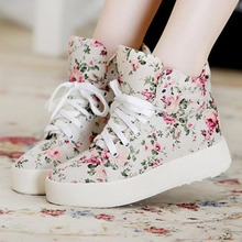 New Flat Platform Shoes Women Lace up Creepers Flower Fashion Flats Thick Bottom Increasing Ladies Casual Walking Shoes AEZLZ228