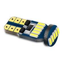 10 pçs t10 w5w 194 canbus carro conduziu a luz de folga luzes de leitura automática lâmpada interior do carro 4014 15smd branco vermelho amarelo dc12v