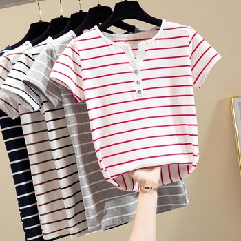 цена на Tops 2020 Summer Simple Striped T-Shirt Women Cotton Knitted OverSize V-neck Tee with Diamonds Button Kpop Casual Female Clothes