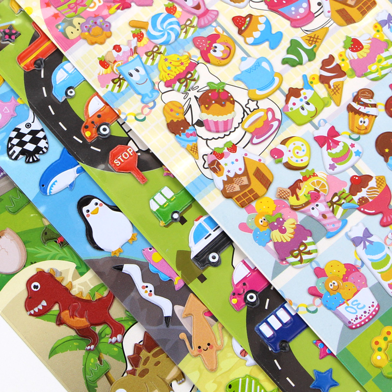 4 pieces cute anime dinosaul stickers animal crossing stikers girl dress up pack fruit ocean fish laptop car sticker  for kids