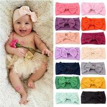Um tamanho de arco recém-nascido headwrap bebê menina bandana arco nó de náilon bebê faixa de cabelo infantil turbante elástico do cabelo dos miúdos acessórios de cabelo