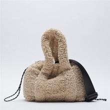 Designer lambswool Women Handbag Faux Fur Shoulder Crossbody Bags for Women 2021 Small Plush Fleece Shopper Bag Ladies Clutch