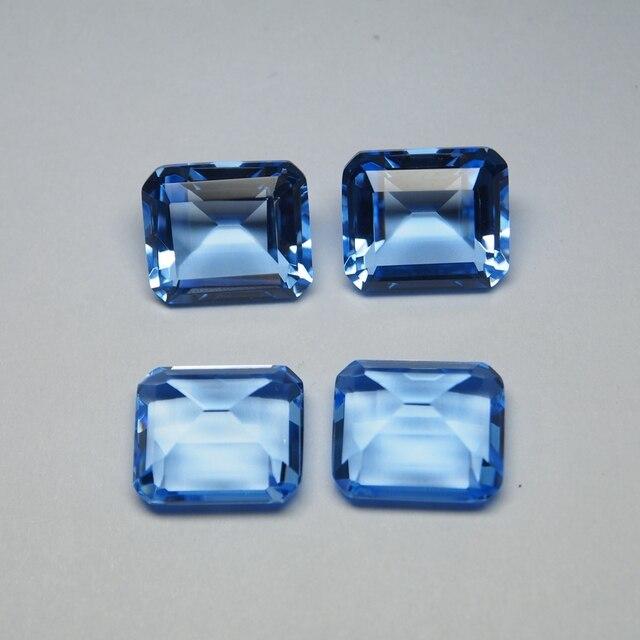 12*14 mm 5 Piece octagon Hydrothermal Quartz Aquamarine crystal Loose gemstone for jewellery making 6