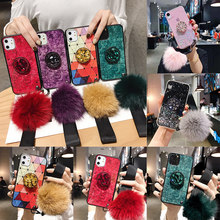 Untuk Samsung Not10Plus S10P TPU Coque untuk iPhone 11 Pro Max 6 6 S Plus 7 Plus 7 Plus DIY Crystal pemegang + Bulu + Tali Phone Case(China)