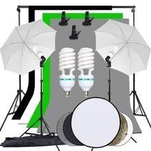 ZUOCHEN צילום סטודיו רקע רך מטריית תאורת ערכת 2X3M רקע Stand תמיכת מערכת 60cm 5 ב 1 רפלקטור פנל