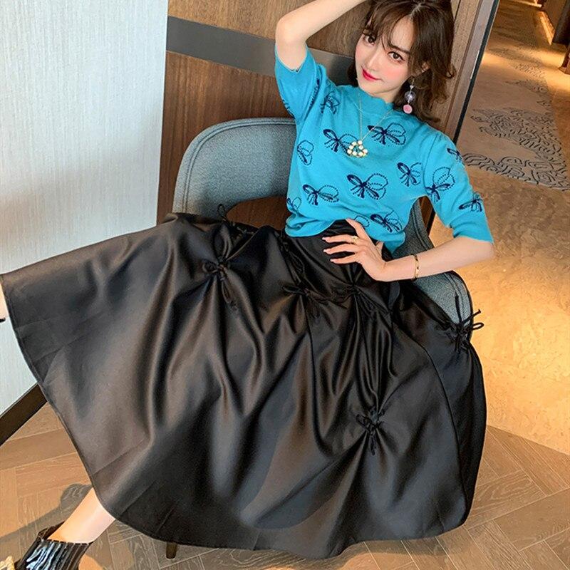 2020 Spring Summer Knitted Tops WOmen Puff Sleeve Bows HIgh Neck Tee Shirt Designer Runway Knit PUllover T-shirt Knitwear