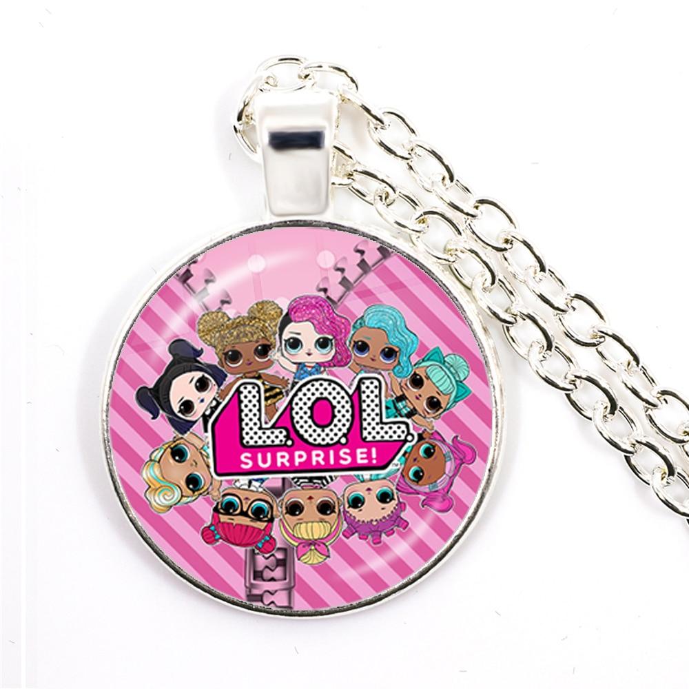 Fashion Cute Pretty Girls Minnie Style Kids 25mm Glass Dome Cabochon Necklace Kawaii Sweater Chain Jewelry Gift For Women Girls 5
