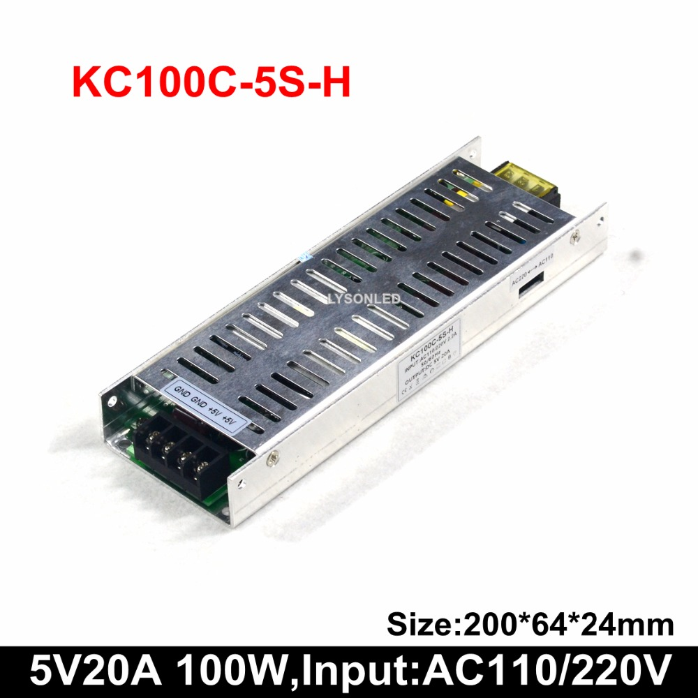 5V 20A 100W LED Scrolling Display Power Supply , Support 100-265 VAC Slim PSU (35W 50W 75W Available)