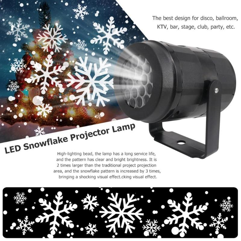 4W Snowflake Pattern LED Projector Lights 85V-240V Holiday Home Party Decor Night Lamp DJ Light Laser Show Stage Lamp