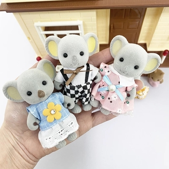 Baby Doll Forest Animal Family 1:12 Dollhouse Furniture Miniature Rabbit Bear Panda Girl Pretend Play Toys Furry Action Figures 1