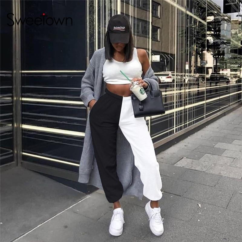 Sweetown Contrast Color Casual Womens Jogger Sweatpants Hip Hop Baggy Pants Pockets Elastic High Waist Harem Trousers Streetwear