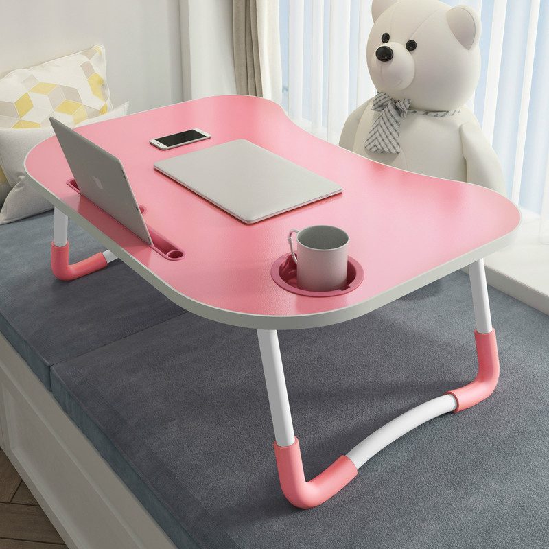 Laptop Desk Portable Foldable Dormitory Bed Lap Desk Book Reading Tray Cup Slot Bed Table For Computer Notebooks Mx9121605