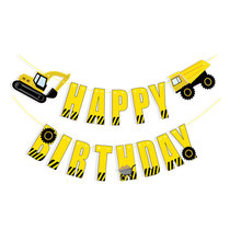 Excavators Boy Party Decoration Banner Happy Birthday Letter Banner Kids Adults Birthday Bunting Garland Flags Party Decoration space banner party decoration baby shower birthday banner party supplies kids boy girl birthday decoration bunting garland flags