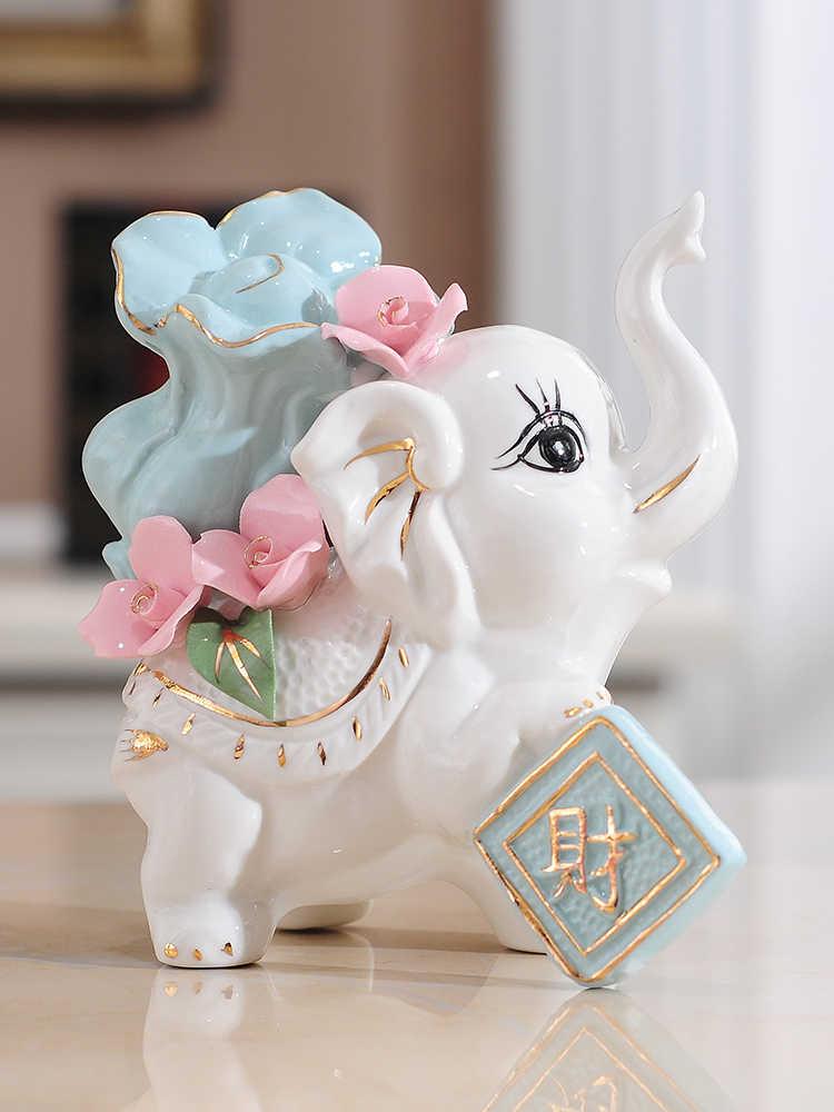 Ceramic Elephant Ornaments Wedding Birthday Gift Living Room Decoration Set of 2