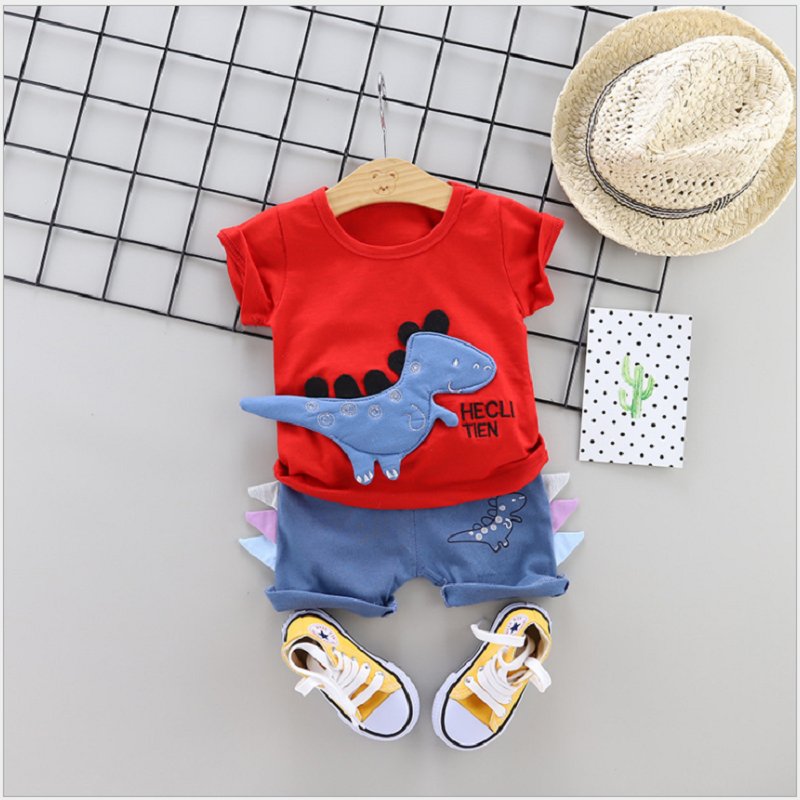 Summer 2021 New Kids Clothes Dinosaur Children's Short-Sleeved Set T-Shirt Shorts Boys and Girls 2 Piece Suits Infant Children