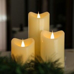 Velas flameless de giveu 3d cintilação conduziu a vela com temporizador luzes de natal a pilhas para a decoração de natal, marfim