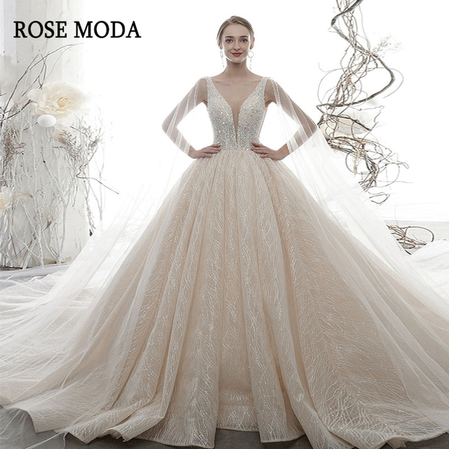 Rose Moda Luxury Deep V Neck Glittering Wedding Dress 2020 with Cape Crystal Wedding Gown Long Train Custom Make