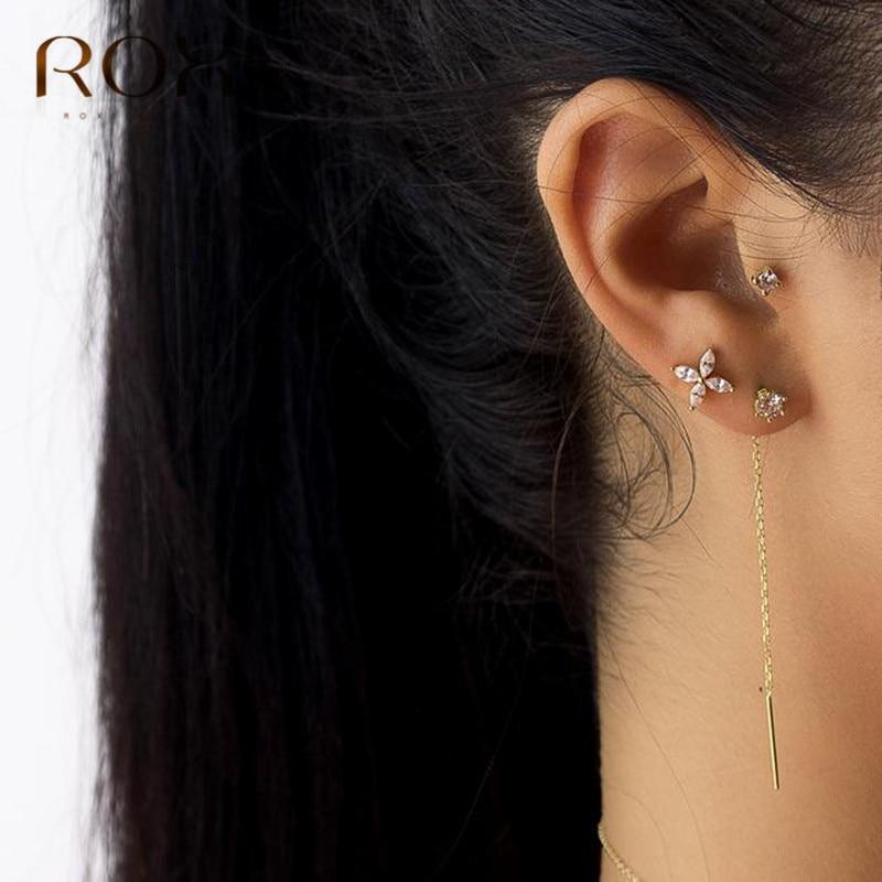 ROXI Korean Simple 925 Sterling Silver Long Tassel Ear Line Drop Dangle Earrings for Women Fashion Jewelry Crystal Earings Gifts
