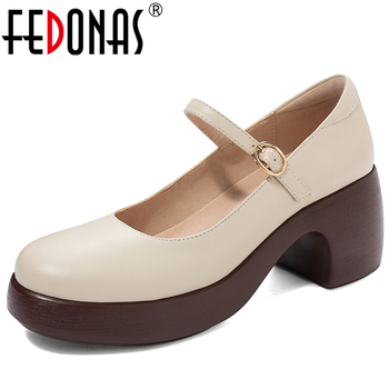 FEDONAS Concise Retro Wedding Mary Janes Women Cow Leather Shoes 2020 Spring Summer Round Toe Buckle Strap Shallow Shoes Woman