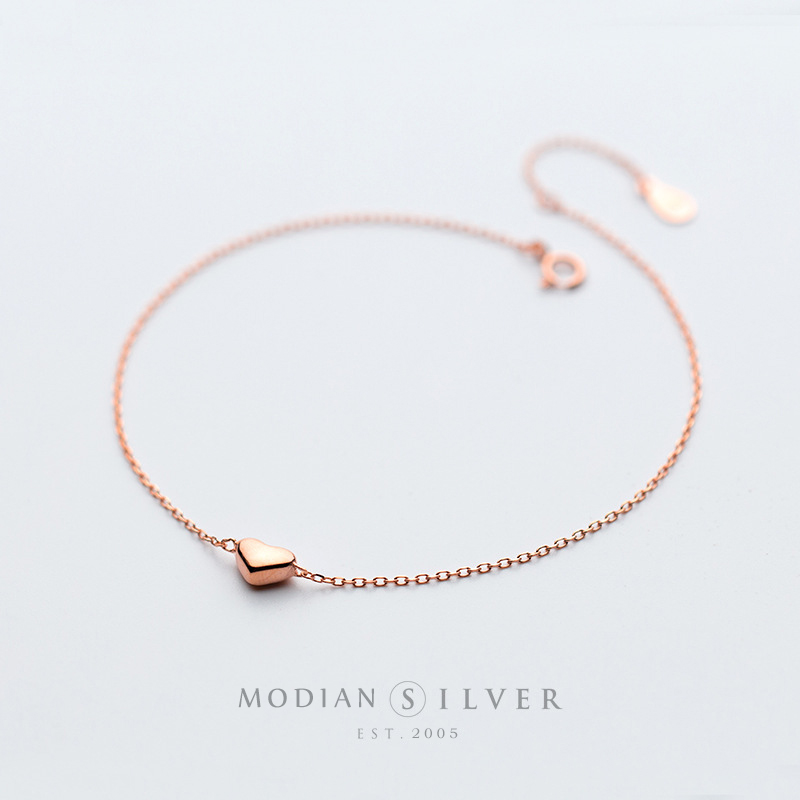 Colusiwei Silver Heart Anklets 925 Sterling Silver Rose Gold Color Minimalist Summer Fashion Foot Jewelry Bracelet for Ankle