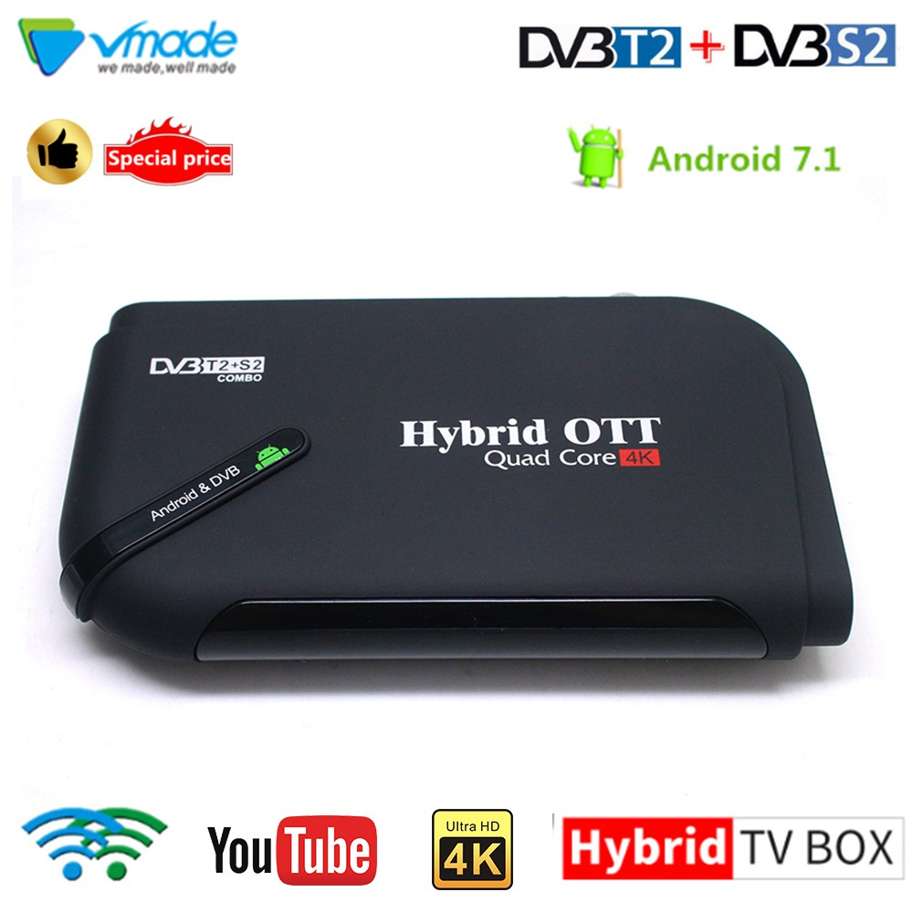 Vmade Mini IPTV Android 7.1 TV Box DVB-T2 4K H.265 Digital Terrestrial Receiver Combo Amlogic S905D T2 Google Media Player