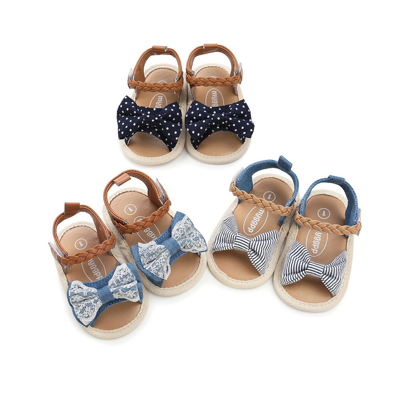 Infant Baby Shoes Girl Flats Sandals Soft Sole Anti-Slip Summer Bowknot Dot Stripe Lace Crib Shoes Newborn First Walker Hot Sale