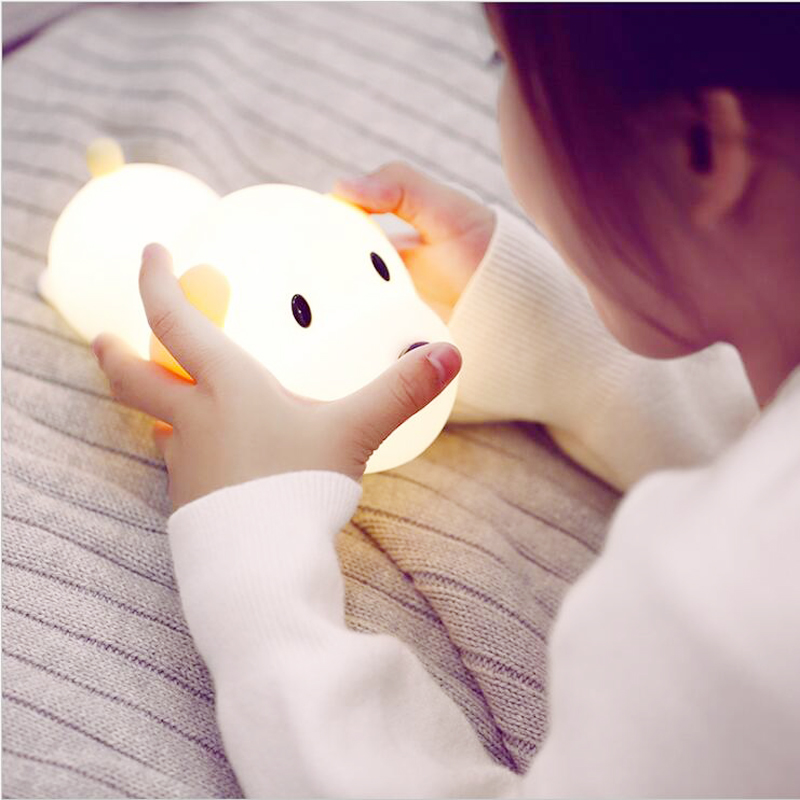 LED Night Light Silicone Dog Touch Sensor Dimmable Timer Puppy Lamp USB Rechargeable Bedroom Bedside Lamp For Children Kids Baby