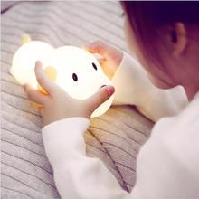 LED gece lambası silikon köpek dokunmatik sensör kısılabilir zamanlayıcı yavru lamba USB şarj edilebilir yatak odası başucu lambası çocuklar çocuklar için bebek