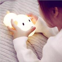 LED ليلة ضوء سيليكون الكلب اللمس الاستشعار عكس الضوء الموقت جرو مصباح USB قابلة للشحن نوم أباجورة للأطفال أطفال طفل