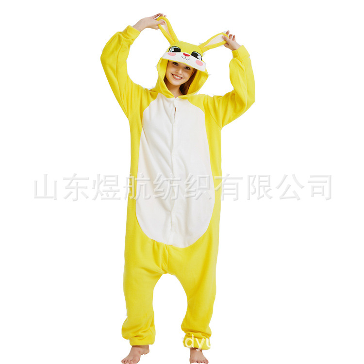 2019 New winter cosplay costume Halloween Party pajama onsies rabbit animals cute funny warm unisex couples kigurumi pajamas