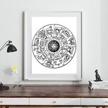 Cartel de constelación astrología del zodiaco con impresiones circulares Vintage cuadro sobre lienzo para pared cuadro para sala de estar decoración del hogar