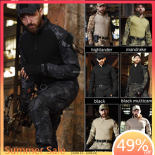 Tactical Combat Camouflage Shirt + Pants Military Airsoft Clothes US Army Multicam Hunting Clothing with Knee Elbow Pads tactical hunting camouflage clothes military uniform airsoft clothing army tactical shirt pants with knee pads
