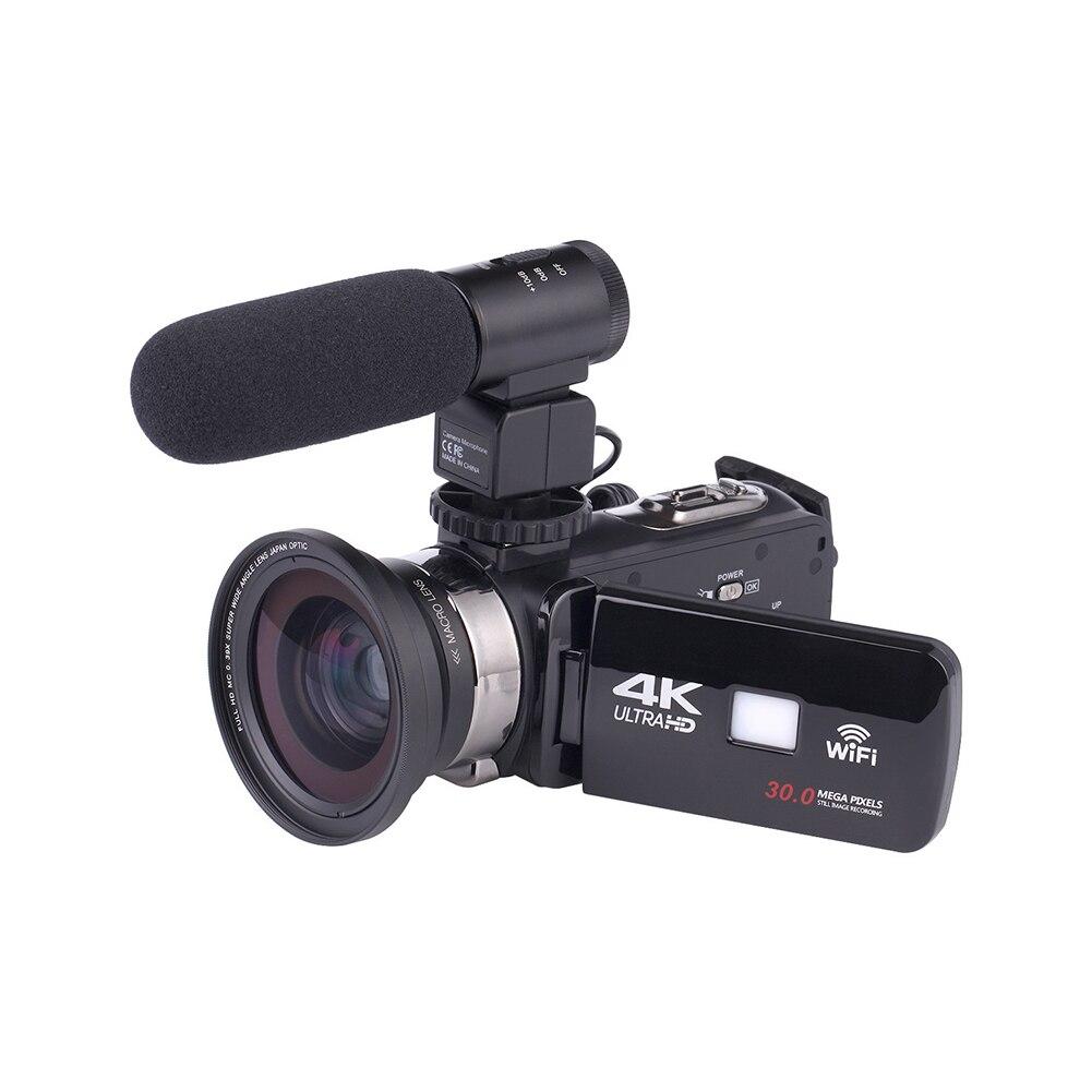 Vidéo haute définition Vision nocturne caméscope numérique Microphone externe Portable grand Angle lentille claire Wifi DVR étanche