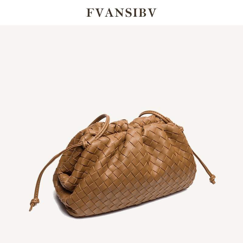 Woven Clouds Bag Women's Leather Shoulder Bag Minimalist 2020 New Fashion Mini Clutch Bag Soft Dumplings Brand Design Bag Spot|Shoulder Bags| - AliExpress