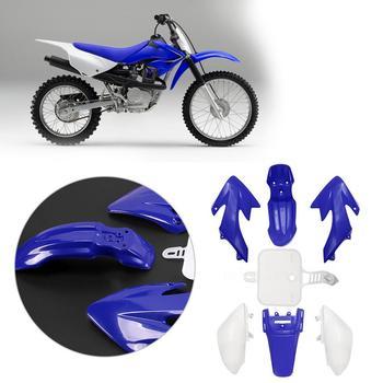 Juego de carenado de plástico para motocicleta Honda CRF 50, accesorios para moto Dirt Pit Bike, molduras ornamentales, color azul + blanco, 7 Uds.