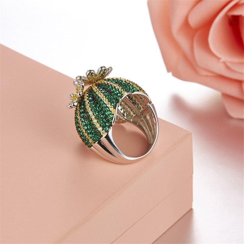 Mignon 925 en argent Sterling vert Cactus bague pavé vert Zircon pierre anneau mobile fleur pétale femmes fête bijoux - 6