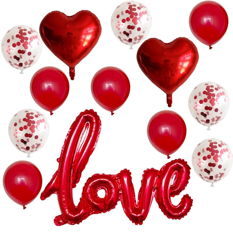 13 pçs/set casamento romântico eu te amo balões coração balões dia dos namorados decorações da festa de aniversário látex globos suprimentos