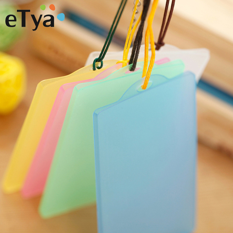 ETya Cute Transparent Card Holder Girls Kids Student Clear Bus ID Card Cover Women Badge Card Case Wallet New 5pcs